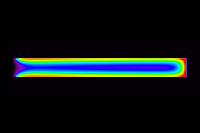 Model of nanowire-based light-emitting diode showing that adding a bit of aluminum to the shell layer (black) directs all recombination of electrons and holes (spaces for electrons) into the nanowire core (multicolored region), producing intense light. Credit: NIST