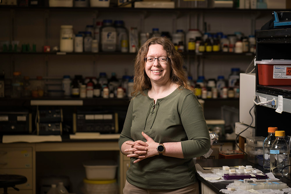 Associate professor of biology Anne S. Meyer. Meyer and her colleagues are using bacteria to replicate the hierarchical, layered structure of nacre to produce a synthetic material with the strength and flexibility of natural mother-of-pearl. (University of Rochester photo / J. Adam Fenster)