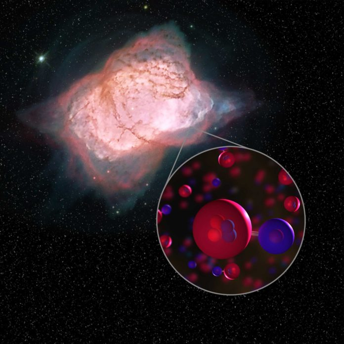 Image of planetary nebula NGC 7027 with illustration of helium hydride molecules. In this planetary nebula, SOFIA detected helium hydride, a combination of helium (red) and hydrogen (blue), which was the first type of molecule to ever form in the early universe. This is the first time helium hydride has been found in the modern universe. Credits: NASA/ESA/Hubble Processing: Judy Schmidt