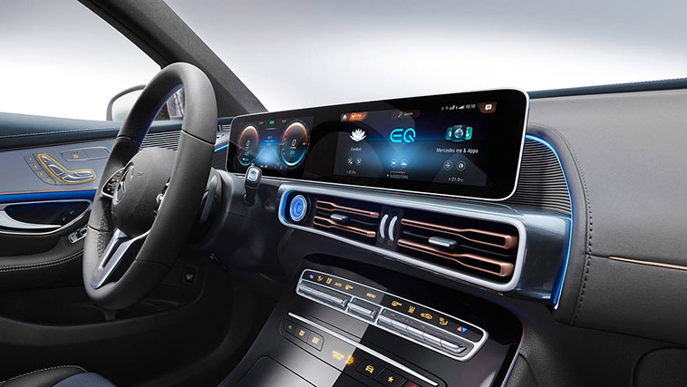 Mercedes' amazing MBUX infotainment system is on display here