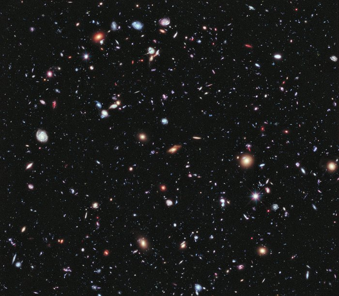 This image, called the Hubble eXtreme Deep Field (XDF), combines Hubble observations taken over the past decade of a small patch of sky in the constellation of Fornax. With a total of over two million seconds of exposure time, it is the deepest image of the Universe ever made, combining data from previous images including the Hubble Ultra Deep Field (taken in 2002 and 2003) and Hubble Ultra Deep Field Infrared (2009). The image covers an area less than a tenth of the width of the full Moon, making it just a 30 millionth of the whole sky. Yet even in this tiny fraction of the sky, the long exposure reveals about 5500 galaxies, some of them so distant that we see them when the Universe was less than 5% of its current age. The Hubble eXtreme Deep Field image contains several of the most distant objects ever identified.