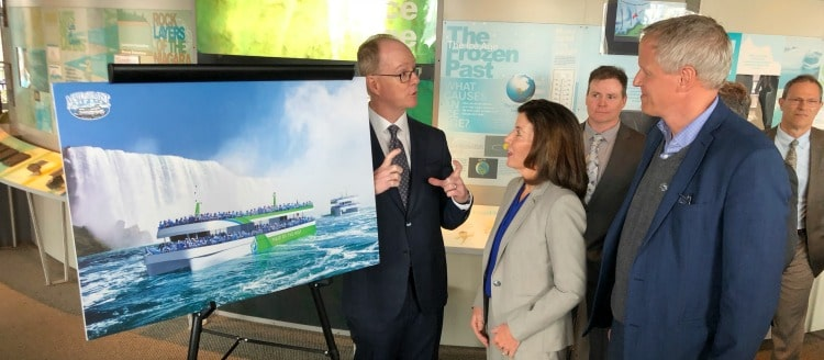 Maid of the Mist President Christopher M. Glynn with the pitch(Credit: Maid of the Mist)