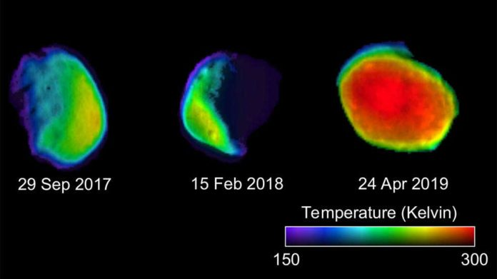 These three views of the Martian moon Phobos were taken by NASA's 2001 Mars Odyssey orbiter using its infrared camera, THEMIS. Each color represents a different temperature range. Credits: NASA/JPL-Caltech/ASU/SSI
