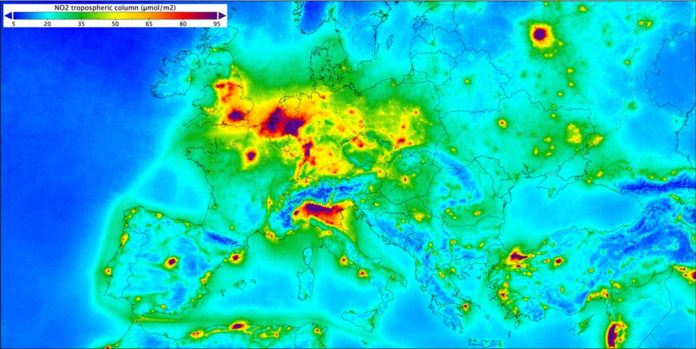 Based on measurements gathered by the Copernicus Sentinel-5P mission between April 2018 and March 2019, the image shows nitrogen dioxide over Europe. Nitrogen dioxide pollutes the air mainly as a result of traffic and the combustion of fossil fuel in industrial processes. It has a significant impact on human health, contributing particularly to respiratory problems.