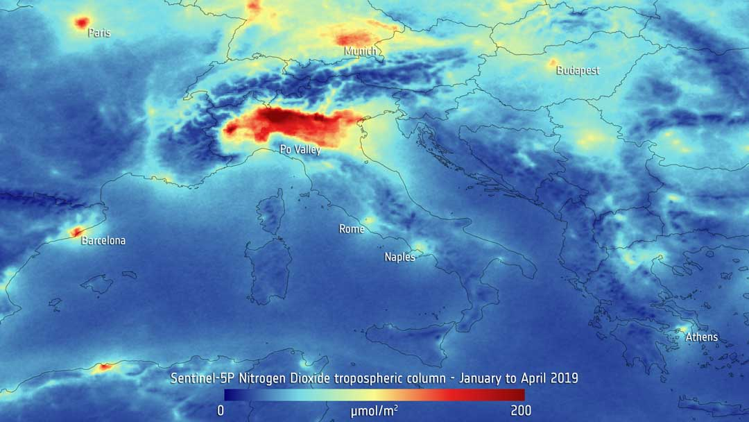Based on measurements gathered by the Copernicus Sentinel-5P mission between January and April 2019, the image shows high levels of nitrogen dioxide in the Po Valley in northern Italy. Nitrogen dioxide pollutes the air mainly as a result of traffic and the combustion of fossil fuel in industrial processes. It has a significant impact on human health, contributing particularly to respiratory problems.