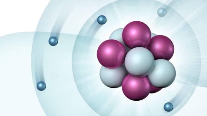 Schematic of a boron atom (Image by Ellen Weiss/Argonne National Laboratory.)