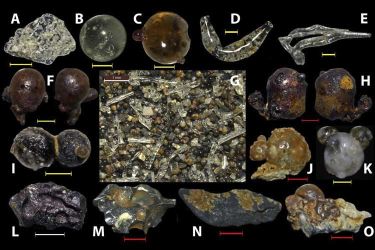 Examples of the broad range of particles that were collected from beach sands in Japan's Motoujima Peninsula. They range from clear glass (A-E) and glass-covered debris (I-J) to rubber-like (L) and iron (M) particles. White scale bar is 1mm; red scale bar is 0.5 mm; yellow scale bar is 0.2 mm. (Photos courtesy of Berkeley Lab)