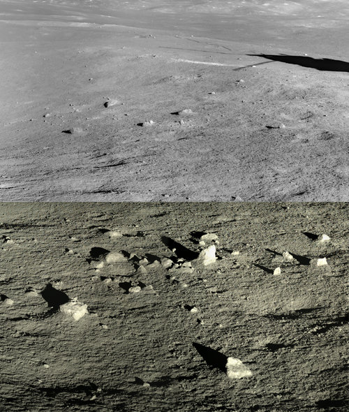 Fig.2: Image captured by Chang'E 4 showed the landscape near the landing site. (Image by NAOC/CNSA)