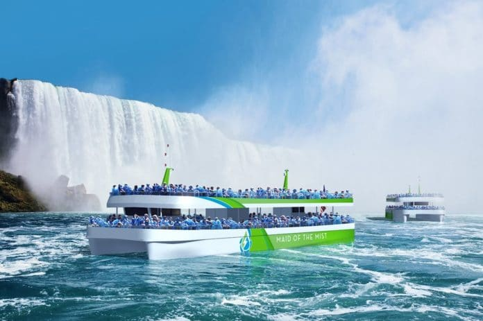 Maid of the Mist's new catamaran-like boats will be powered by lithium-ion battery and an onshore charging system(Credit: Maid of the Mist)