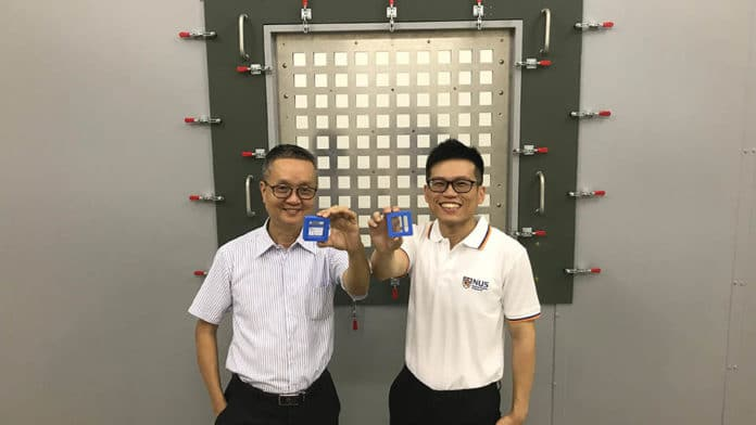 Associate Professor Lee Heow Pueh (left) and NUS PhD candidate Mr Ang Yinn Linus have come up with a novel, customisable noise reduction block design and mobile application that could effectively cut down low frequency noise disturbance
