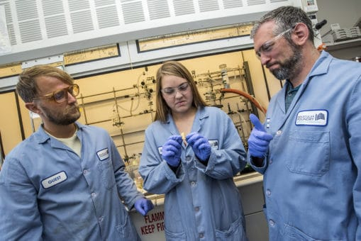Left to right: Peter Christensen, Kathryn Loeffler, and Brett Helms. (Credit: Marilyn Chung/Berkeley Lab)