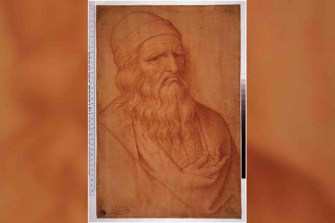 The chalk drawing of da Vinci by Giovan Ambrogio Finio has offered new clues CREDIT: POLO MUSEALE DEL VENETO
