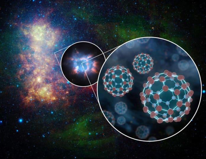 This is an artist's concept depicting the presence of buckyballs in space. Buckyballs, which consist of 60 carbon atoms arranged like soccer balls, have been detected in space before by scientists using NASA's Spitzer Space Telescope. The new result is the first time an electrically charged (ionized) version has been found in the interstellar medium. Credits: NASA/JPL-Caltech