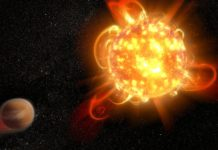 An artist's depiction of a superflare on an alien star. (Credit: NASA, ESA and D. Player)