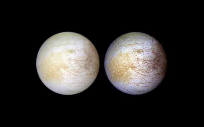 Tara Regio is the yellowish area to left of center, in this NASA Galileo image of Europa's surface. This region of geologic chaos is the area researchers identified an abundance of sodium chloride. Credit: NASA/JPL/University of Arizona