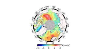 The map illustrates that the average change in the Arctic sea level varies regionally. (Image: DTU/DGFI-TUM)