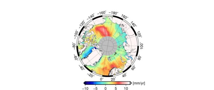 The map illustrates that the average change in the Arctic sea level varies regionally. (Image: DTU/DGFI-TUM)