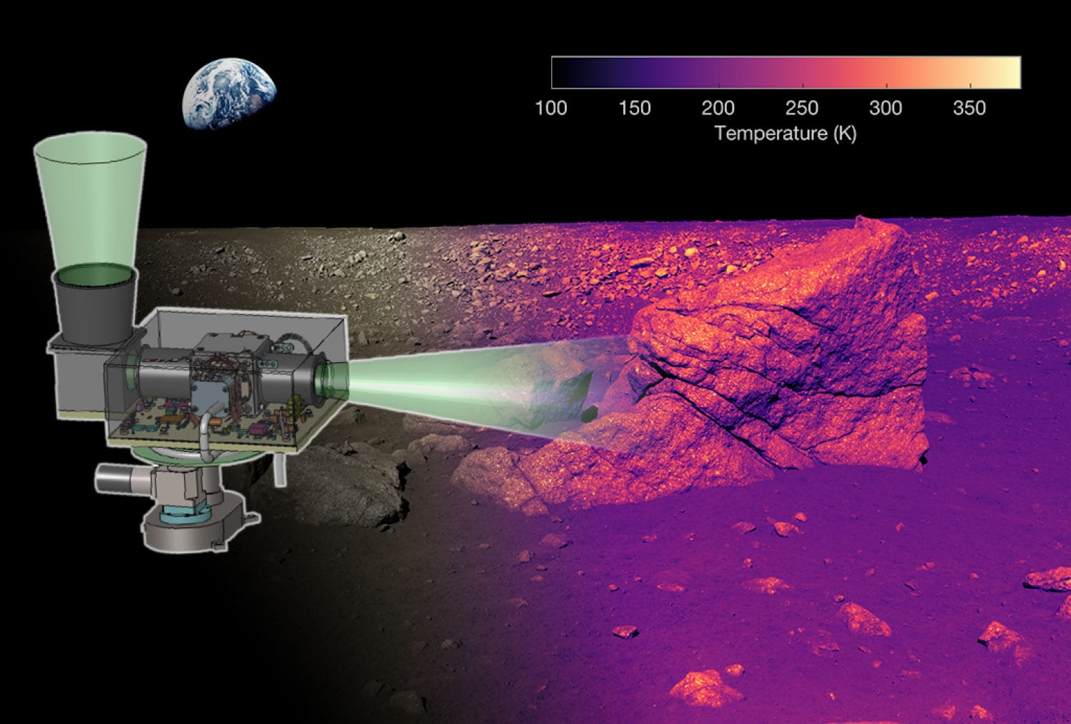 A simulation of the level of detail that L-CIRiS's infrared camera will reveal of the moon's surface. (Credit: Ball Aerospace)