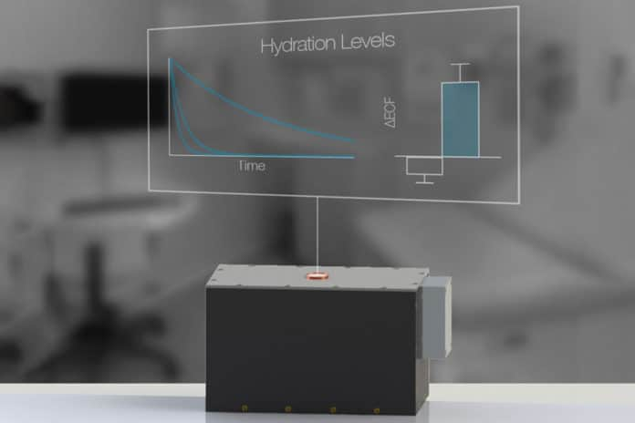 MIT researchers have developed a noninvasive hydration sensor that is based on the same technology as MRI, but, unlike MRI scanners, it can fit in a doctor's office. Image: Lina Colucci, Andrew Hall