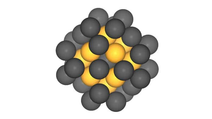 Platin-nanoparticles with 40 atoms. Image: B. Garlyyev / TUM