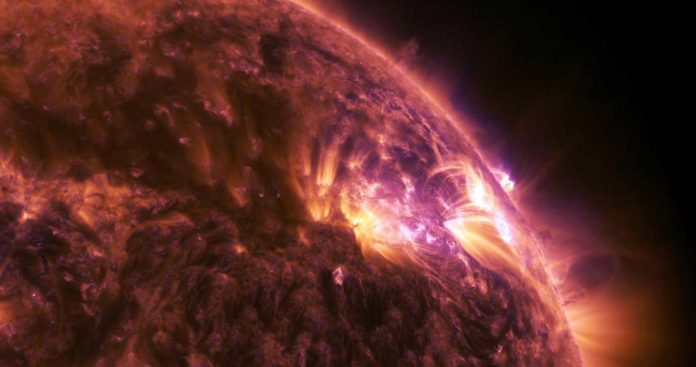 This is a NASA-recorded solar flare. CREDIT NASA
