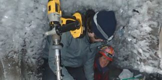 Zac Cooper and Shelly Carpenter begin to drill below the Alaskan ice tunnel toward the cryopeg and its salty subzero water. Researchers are careful to sterilize their equipment to avoid introducing contamination from above ground. The most stringent of such techniques will be needed to sample for life on other planets.Go Iwahana/University of Alaska, Fairbanks
