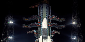 GSLV MkIII-M1 / Chandryaan 2 vehicle night view at the Second Launch Pad