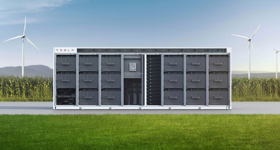 Tesla's new container-size system with several cabinets filled with battery modules. Image credit: Tesla
