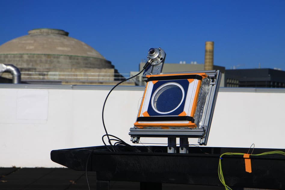 A test device installed on a rooftop at MIT proved the effectiveness of the new insulating material. When placed in sunlight the device heated up to 220 degrees C., even though the outside temperature at the time was about zero degrees.
