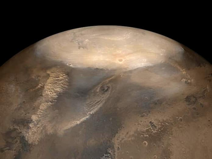 Dust storms on Mars could behave similarly to dry cyclones. (NASA/JPL/Malin Space Science Systems photo)