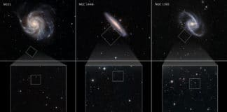 """These galaxies are selected from a Hubble Space Telescope program to measure the expansion rate of the universe, called the Hubble constant. The value is calculated by comparing the galaxies' distances to the apparent rate of recession away from Earth (due to the relativistic effects of expanding space). By comparing the apparent brightnesses of the galaxies' red giant stars with nearby red giants, whose distances were measured with other methods, astronomers are able to determine how far away each of the host galaxies are. This is possible because red giants are reliable milepost markers because they all reach the same peak brightness in their late evolution. And, this can be used as a """"standard candle"""" to calculate distance. Hubble's exquisite sharpness and sensitivity allowed for red giants to be found in the stellar halos of the host galaxies. The red giants were searched for in the halos of the galaxies. The center row shows Hubble's full field of view. The bottom row zooms even tighter into the Hubble fields. The red giants are identified by yellow circles. Credit: NASA, ESA, W. Freedman (University of Chicago), ESO, and the Digitized Sky Survey"""