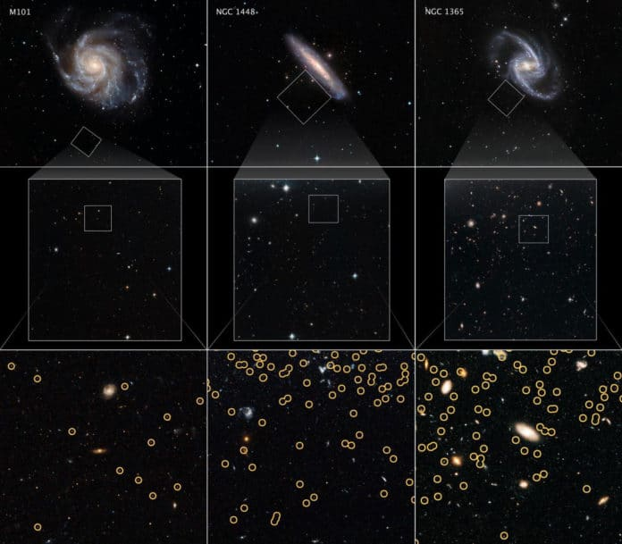 These galaxies are selected from a Hubble Space Telescope program to measure the expansion rate of the universe, called the Hubble constant. The value is calculated by comparing the galaxies' distances to the apparent rate of recession away from Earth (due to the relativistic effects of expanding space). By comparing the apparent brightnesses of the galaxies' red giant stars with nearby red giants, whose distances were measured with other methods, astronomers are able to determine how far away each of the host galaxies are. This is possible because red giants are reliable milepost markers because they all reach the same peak brightness in their late evolution. And, this can be used as a