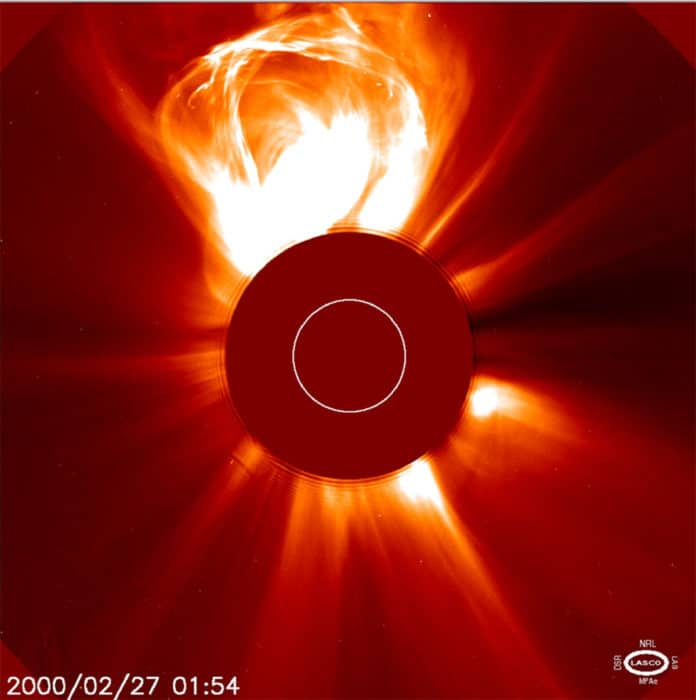 NASA has selected two proposals to demonstrate technologies to improve science observations in deep space. The proposals could help NASA develop better models to predict space weather events that can affect astronauts and spacecraft, such as coronal mass ejections (CMEs). In this image, taken by the Solar and Heliospheric Observatory on Feb. 27, 2000, a CME is seen erupting from the Sun, which is hidden by the disk in the middle, so the fainter material around it can be seen. Credits: ESA/NASA/SOHO