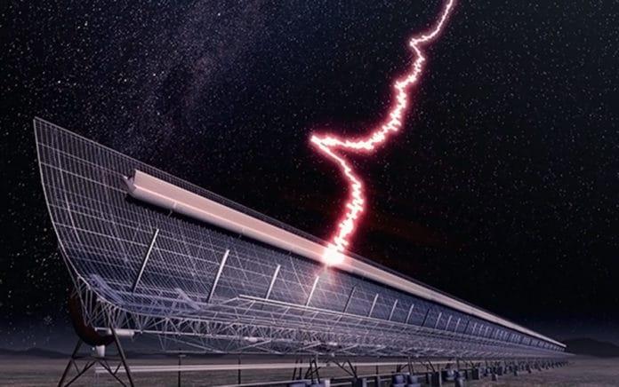 An artist's impression of the fast radio burst detected on October 17 2018 at the Molonglo Radio Telescope near Canberra, Australia. Credit: James Josephides/Swinburne