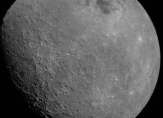First photo of the moon from Chandrayaan 2 shows the Mare Orientale basin in the top right-of-centre, and the Apollo crater in the centre-right of the image. Image: ISRO