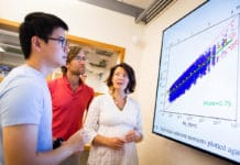 Marine Denolle (right) and her team, including Jiuxun Yin (left) and Brad Lipovsky, created numerical models to predict an earthquake's final magnitude 10 to 15 seconds faster than today's best algorithms. Stephanie Mitchell/Harvard Staff Photographer