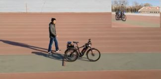 A screenshot from the video of an autonomous bicycle – equipped with a Tianjic chip.