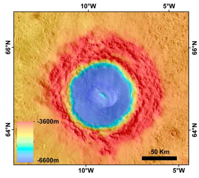 Topography of Lomonosov crater (Mars Orbiter Laser Altimeter digital elevation background). Credit: NASA/JPL/USGS