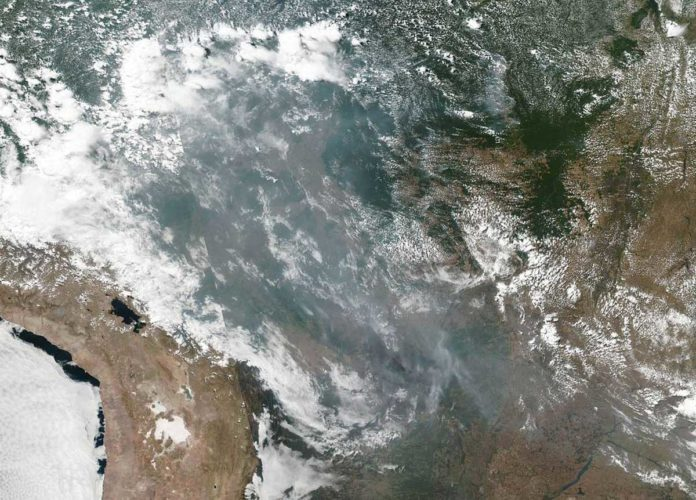 NASA's AIRS maps carbon monoxide with Brazilian fire