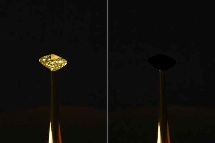 A 16.78-carat natural yellow diamond, estimated to be worth $2 million (left), is coated with a new carbon nanotube-based material that is the blackest material on record (the covered diamond, shown at right). The diamond is the subject of The Redemption of Vanity, a work of art created by artist Diemut Strebe, in collaboration with MIT engineer Brian Wardle and his lab, on view at the New York Stock Exchange. Image: R. Capanna, A. Berlato, and A. Pinato