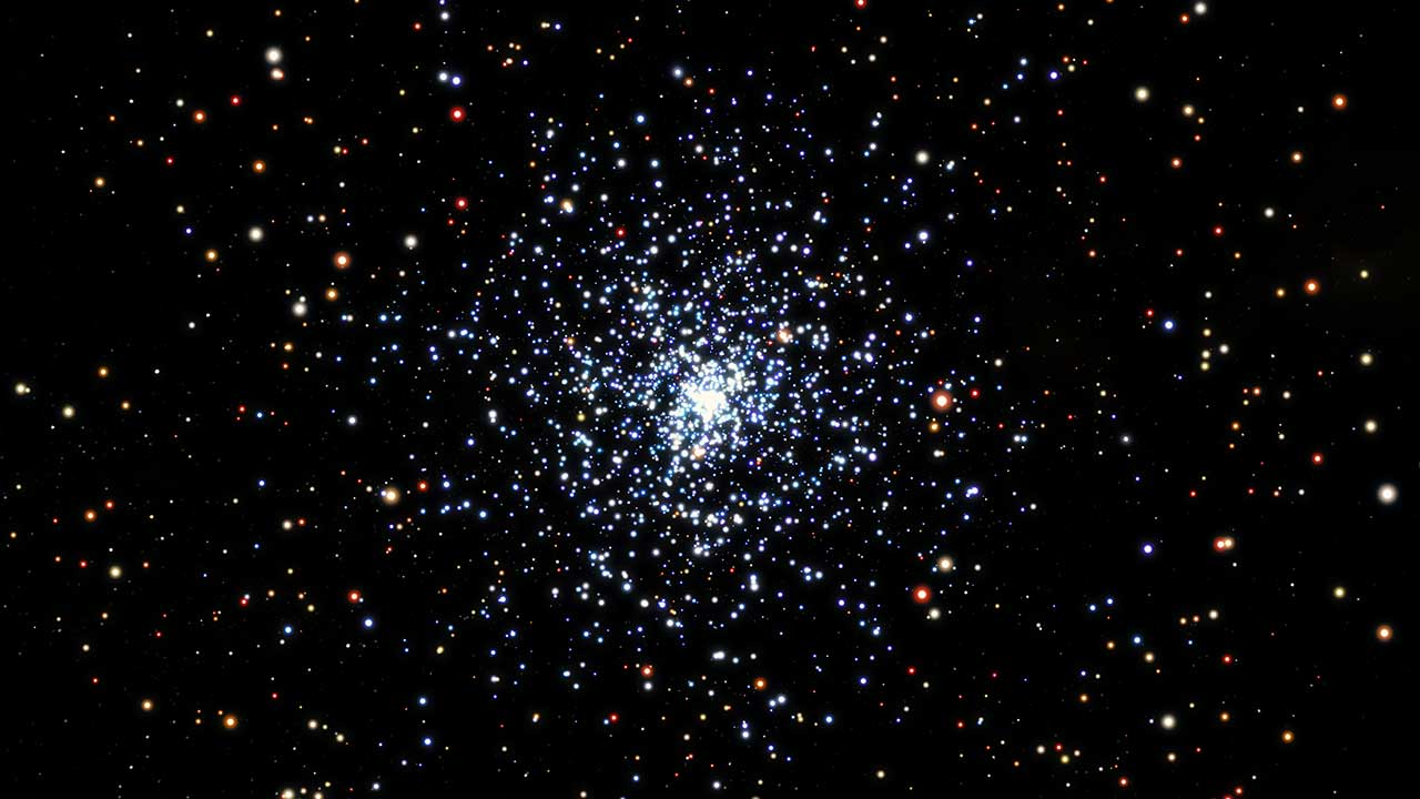 Blue straggler stars are blue, bright stars, with a higher mass than the average for a cluster, and they are expected to sink towards the centre of a star cluster over time. Those closest to the cluster core are the first to migrate inwards, with more distant blue stragglers progressively moving inwards over time. Credit: ESA/Hubble & NASA, L. Calçada