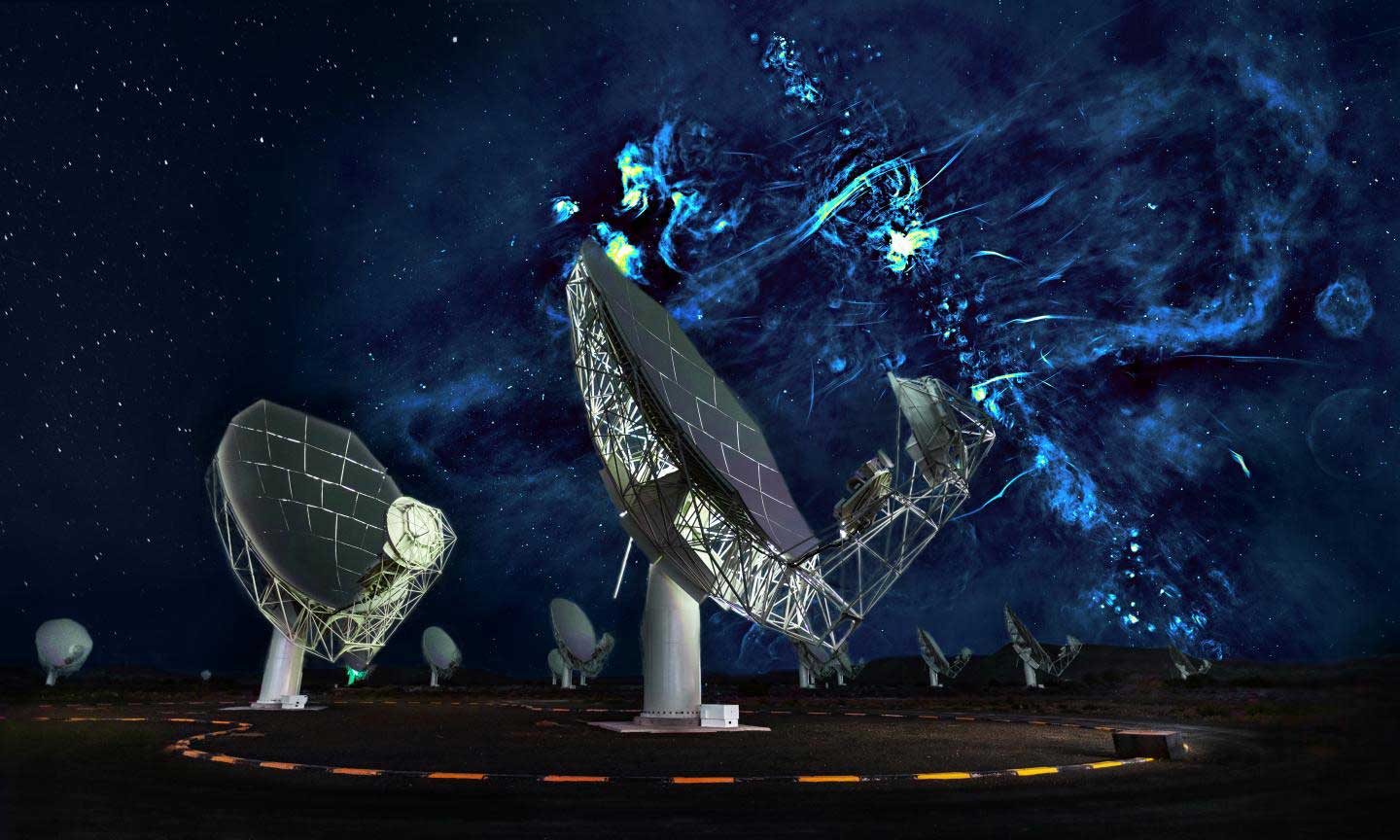 Radio image of the center of the Milky Way with a portion of the MeerKAT telescope array in the foreground. The plane of the galaxy is marked by a series of bright features, exploded stars and regions where new stars are being born, and runs diagonally across the image from lower right to top center. The black hole at the center of the Milky Way is hidden in the brightest of these extended regions. The radio bubbles extend from between the two nearest antennas to the upper right corner. Many magnetized filaments can be seen running parallel to the bubbles. In this composite view, the sky to the left of the second nearest antenna is the night sky visible to the unaided eye, and the radio image to the right has been enlarged to highlight its fine features.  CREDIT Credit: Oxford, SARAO