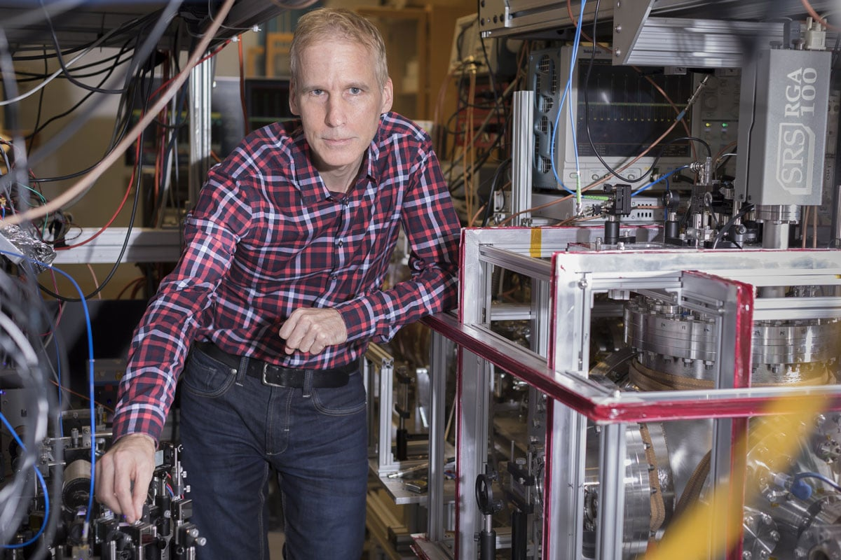 Distinguished research professor Eric Hessels in his physics lab at York University. Credit: York University