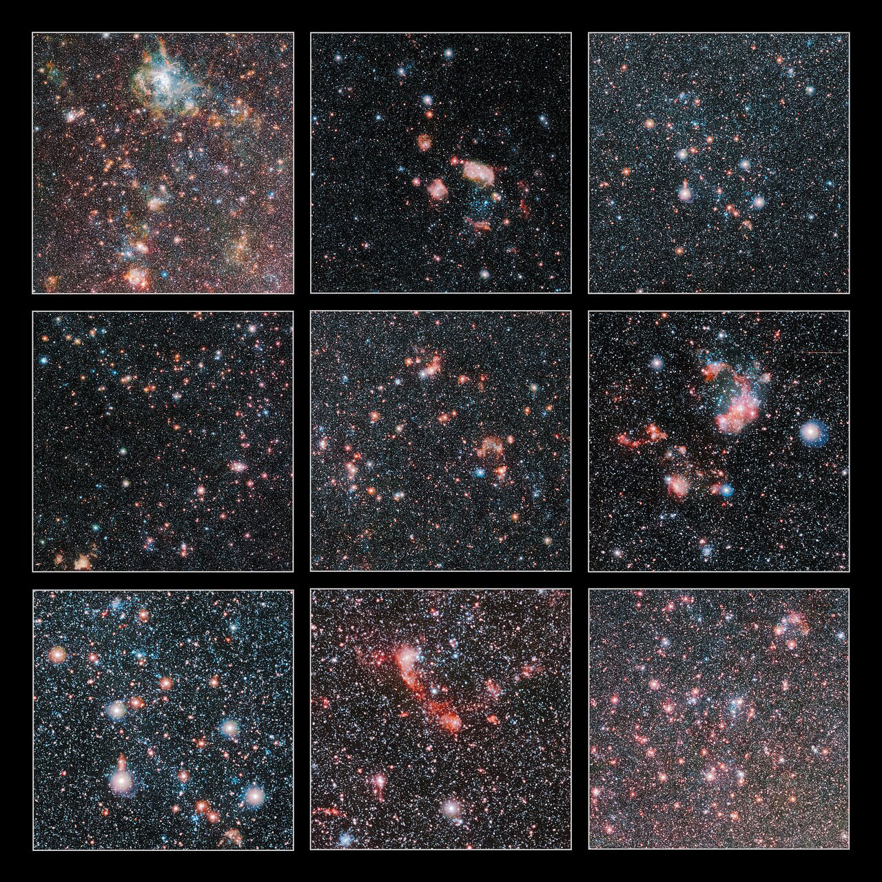 These cutouts highlight some of the most spectacular regions in the Large Magellanic Cloud, which is one of our closest galactic neighbours. The image was taken with the VISTA telescope at ESO's Paranal Observatory. Credit: ESO/VMC Survey