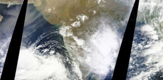 Imaged in satellite overflights, monsoon clouds fed by warm Indian Ocean spread over India. Photo: NASA