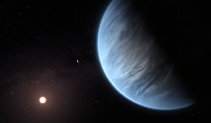 This artist's impression shows the planet K2-18b, it's host star and an accompanying planet in this system. K2-18b is now the only super-Earth exoplanet known to host both water and temperatures that could support life. UCL researchers used archive data from 2016 and 2017 captured by the NASA/ESA Hubble Space Telescope and developed open-source algorithms to analyse the starlight filtered through K2-18b's atmosphere. The results revealed the molecular signature of water vapour, also indicating the presence of hydrogen and helium in the planet's atmosphere.