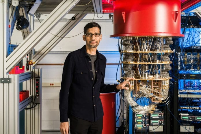 Google CEO Sundar Pichai with quantum computer.