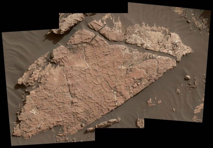The network of cracks in this Martian rock slab called