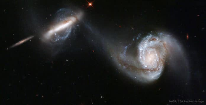 Two galaxies in the process of merging. Credit: NASA/ESA/Hubble