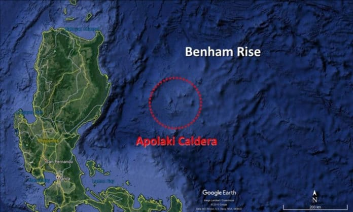 A 150 km wide depression discovered during a survey in the Philippine Sea may be the world's largest volcanic caldera.GOOGLE EARTH/BARRETTO ET AL. 2019